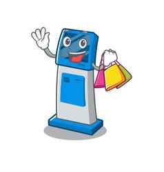 Shopping information digital kiosk with in cartoon vector