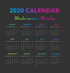 Simple 2020 year calendar weeks start on monday vector