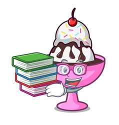 Student with book ice cream sundae mascot cartoon vector