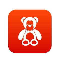 teddy bear icon digital red vector image