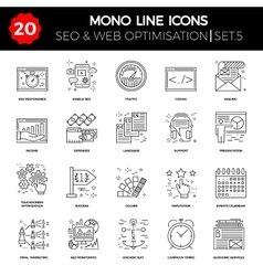 Thin Line Icons Set of Search Engine Optimization vector image