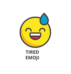 tired emoji line icon sign vector image