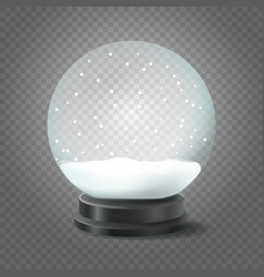 Transparent crystal ball with snow isolated on vector