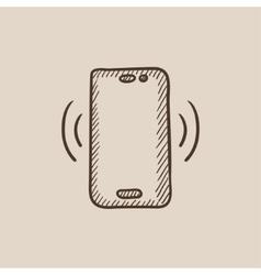 Vibrating phone sketch icon vector