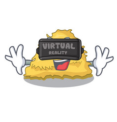 Virtual reality hay bale mascot cartoon vector