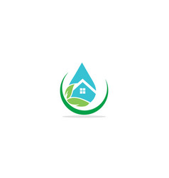water droplet home eco logo vector image