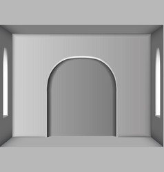 white room with two windows and an arch in the vector image