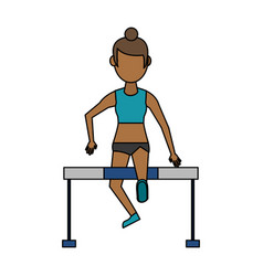 Woman athlete jumpin barrier vector