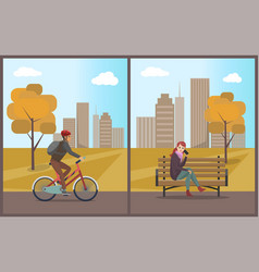 woman talking on mobile phone and biker vector image