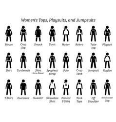 women tops playsuits and jumpsuits stick figures vector image