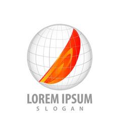 world fire globe logo concept design symbol vector image