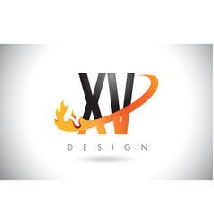 xv x v letter logo with fire flames design and vector image
