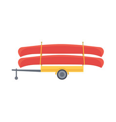 Yellow trailer with red canoe vector