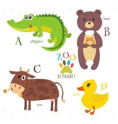 Zoo alphabet with funny cartoon animals A b c d vector image vector image