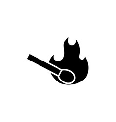 burning match flat icon vector image