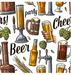 seamless pattern beer tap hand hold glass bottle vector image