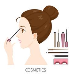 woman with hair bun make-up mascara vector image