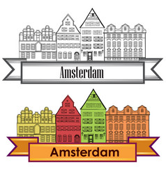 amsterdam canal houses netherlands symbol travel vector image vector image