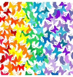 Background with butterflies in rainbow colors vector image