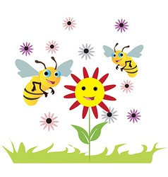 Bees over the flowers vector image