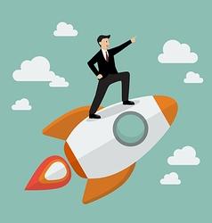 Businessman standing on a rocket vector image vector image