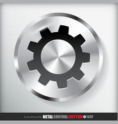 Circle Metal Settings Button vector image vector image