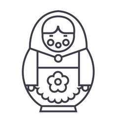 matryoshka line icon sign on vector image