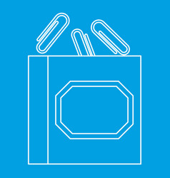 paper clips icon outline style vector image