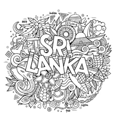 Sri lanka country hand lettering and doodles vector