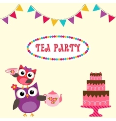 Tea party invitation with cute owls vector image vector image