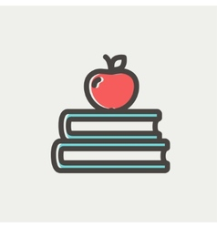 Three books with apple on the top thin line icon vector image