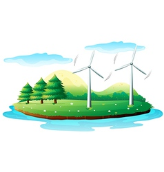 Windmills in the island vector image