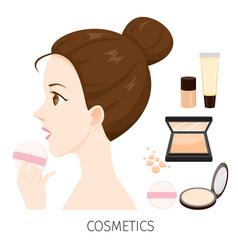 woman with hair bun make-up powder vector image