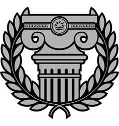 ancient ionic column with laurel wreath vector image