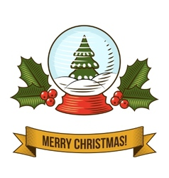 Christmas snow globe icon vector image vector image