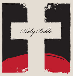 cross on abstract background with words holy bible vector image