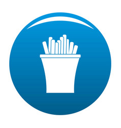 french fries icon blue vector image vector image