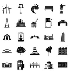 ground icons set simple style vector image