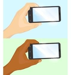 hand holding black horizontal smartphone vector image vector image
