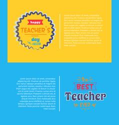 Happy teachers day set yellow vector