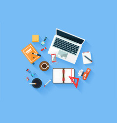 home or office modern workplace top view concept vector image