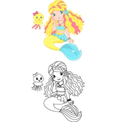 Mermaid coloring page vector image vector image
