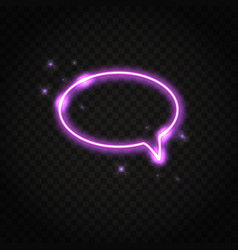 neon pink oval speech bubble with space for text vector image