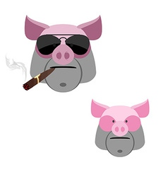 Pig with a cigar Scary and angry Boars head on a vector image