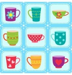 Tea cups pattern vector image vector image