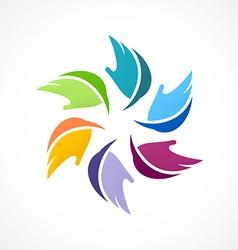 colorful circular abstract leaf logo vector image vector image