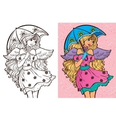 Colouring Book Of Girl With Umbrella vector image vector image