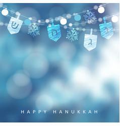 hanukkah blue greeting card invitation with vector image