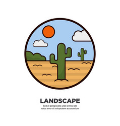 landscape scenery design desert and cactus trees vector image