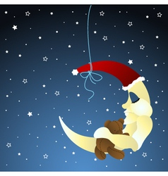 moon and teddy baby greeting card vector image vector image